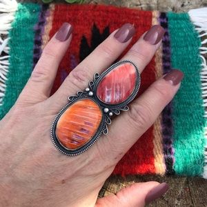 Jewelry - Navajo Sterling Silver Spiny Oyster Ring Sz 7.5